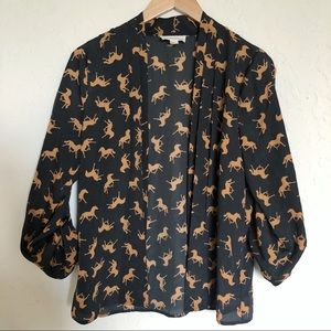Forever 22 Horse-printed Blouse in Navy